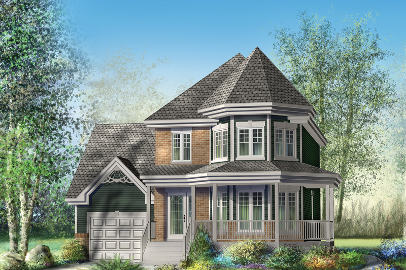 Victorian Style House Plan - 3 Beds 1 Baths 1705 Sq/Ft Plan #25-4700 Exterior - Front Elevation