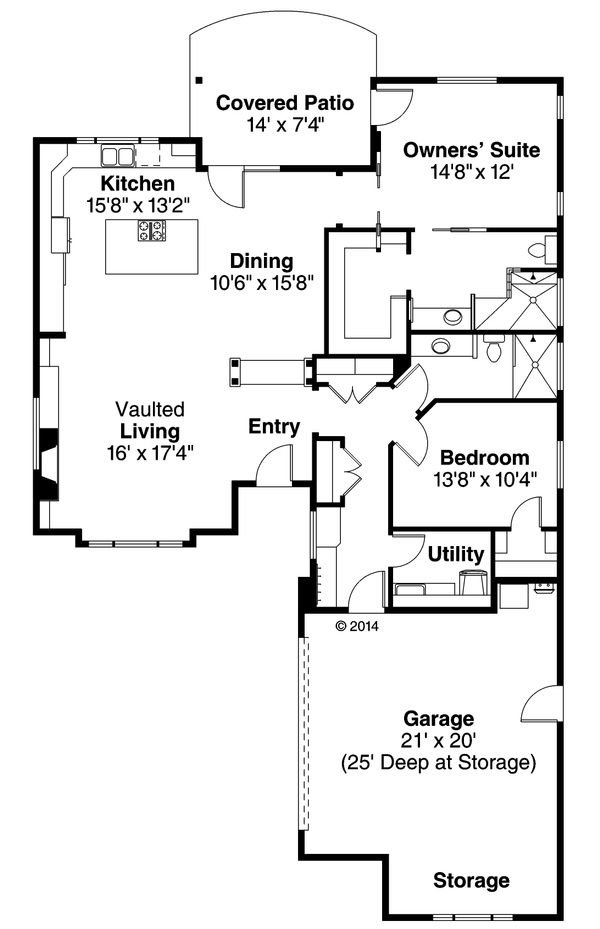 Ranch style country house plan, main level floor plan