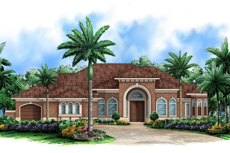 Beach Style House Plan - 3 Beds 3.5 Baths 5191 Sq/Ft Plan #27-521 Exterior - Front Elevation