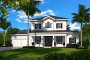 Traditional Style House Plan - 5 Beds 5.5 Baths 6027 Sq/Ft Plan #27-555 Exterior - Front Elevation