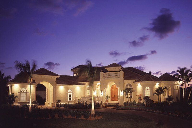 Mediterranean Style House Plan - 3 Beds 3.5 Baths 3831 Sq/Ft Plan #115-107 Exterior - Front Elevation