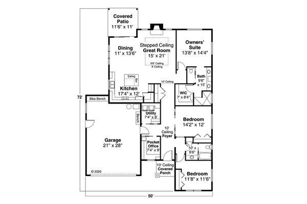 House Plan Design - Prairie Floor Plan - Main Floor Plan #124-1192
