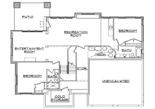 Craftsman Floor Plan - Lower Floor Plan Plan #5-378
