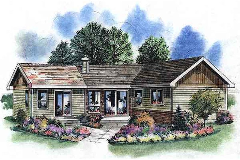 Traditional Style House Plan - 1 Beds 1 Baths 768 Sq/Ft Plan #18-1050 Exterior - Front Elevation