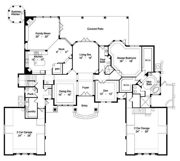 Mediterranean Floor Plan - Main Floor Plan Plan #417-440