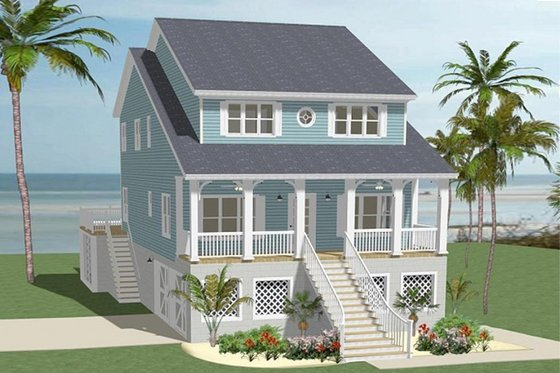 Beach Exterior - Front Elevation Plan #898-44