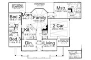 European Style House Plan - 3 Beds 2 Baths 1931 Sq/Ft Plan #119-243 Floor Plan - Main Floor