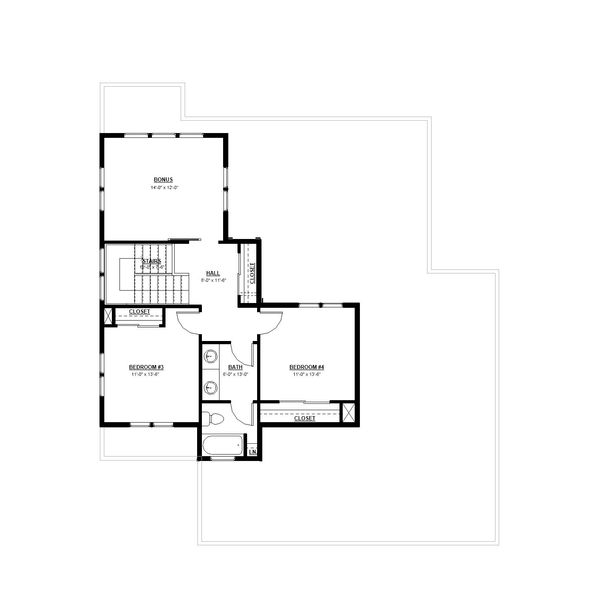 Craftsman Floor Plan - Upper Floor Plan Plan #895-100