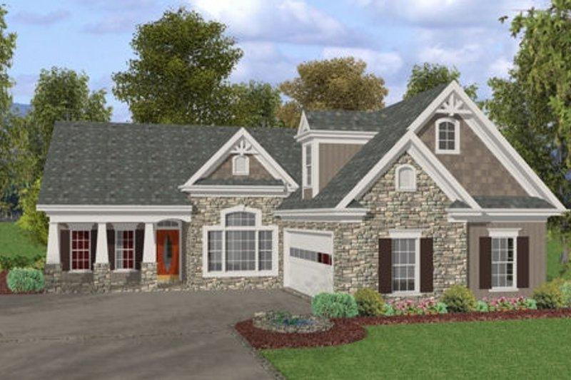 Craftsman Style House Plan - 3 Beds 2.5 Baths 1998 Sq/Ft Plan #56-581 Exterior - Front Elevation
