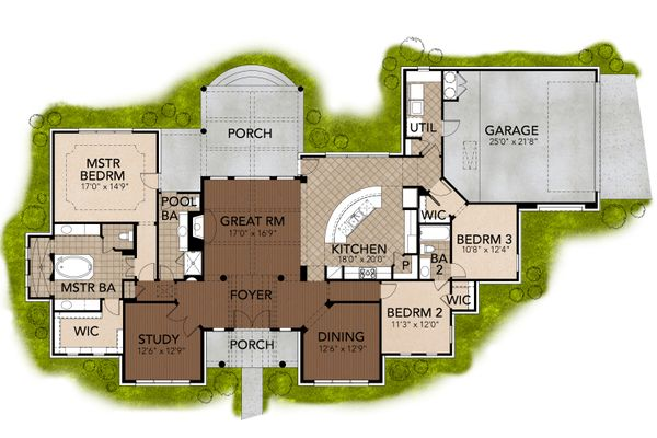 Mediterranean Floor Plan - Main Floor Plan Plan #80-163