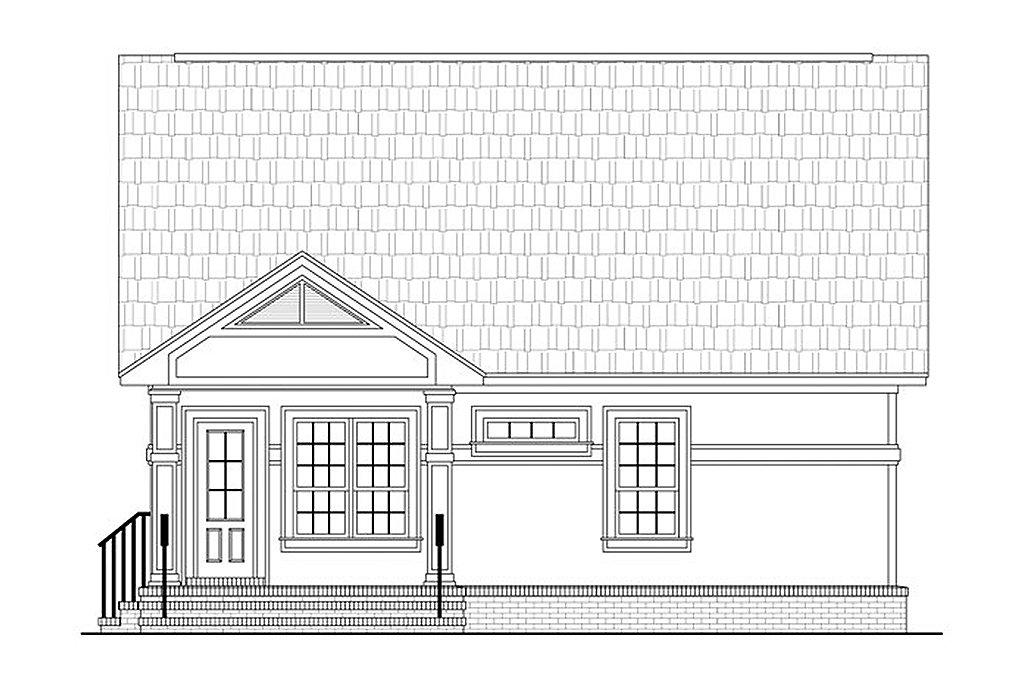 Cottage Exterior   Rear Elevation Plan #21 222