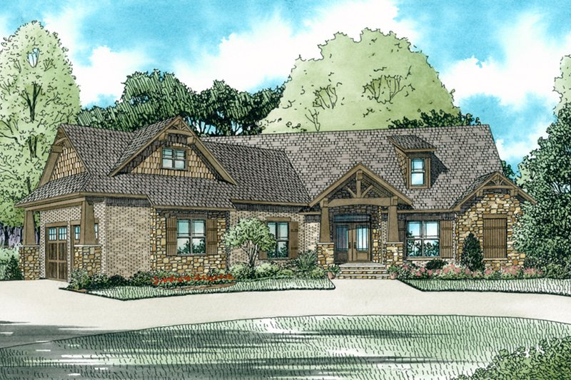 European Style House Plan - 3 Beds 2.5 Baths 2199 Sq/Ft Plan #17-2541 Exterior - Front Elevation