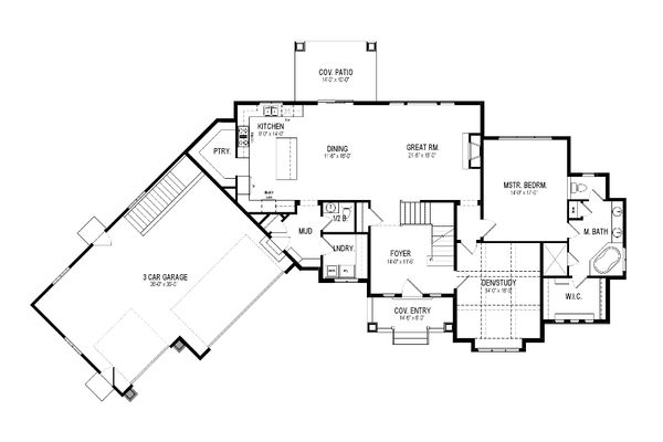 Craftsman Floor Plan - Main Floor Plan Plan #920-10