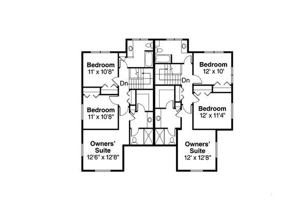 Country Floor Plan - Upper Floor Plan Plan #124-1077