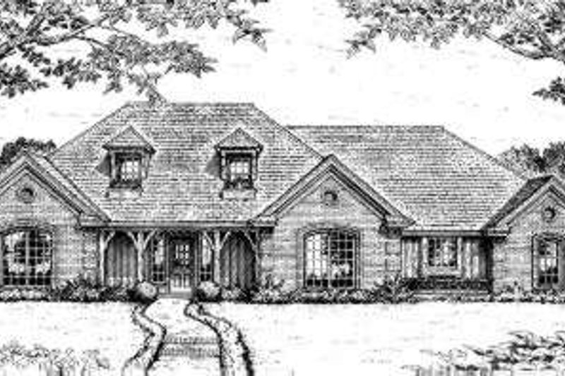 European Style House Plan - 4 Beds 3 Baths 2285 Sq/Ft Plan #310-205 Exterior - Front Elevation