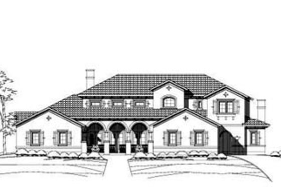 Mediterranean Exterior - Front Elevation Plan #411-122