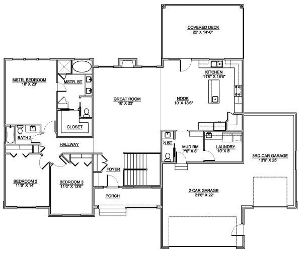Traditional Floor Plan - Main Floor Plan #1073-12