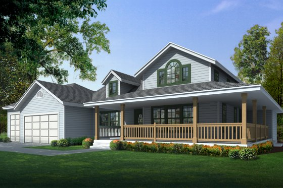 Country Exterior - Front Elevation Plan #112-161