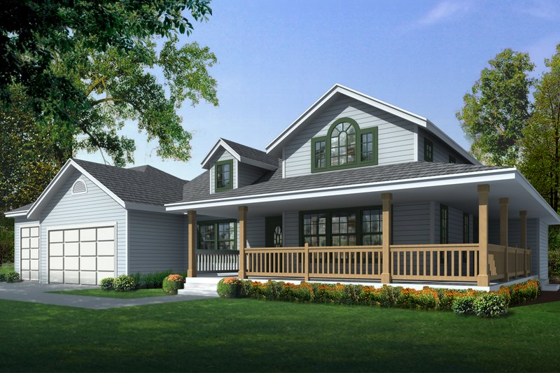 Country Style House Plan - 2 Beds 2 Baths 1515 Sq/Ft Plan #112-161 Exterior - Front Elevation