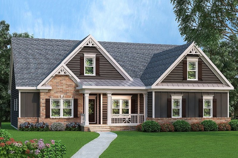 Ranch Style House Plan - 3 Beds 2 Baths 1934 Sq/Ft Plan #419-148 Exterior - Front Elevation