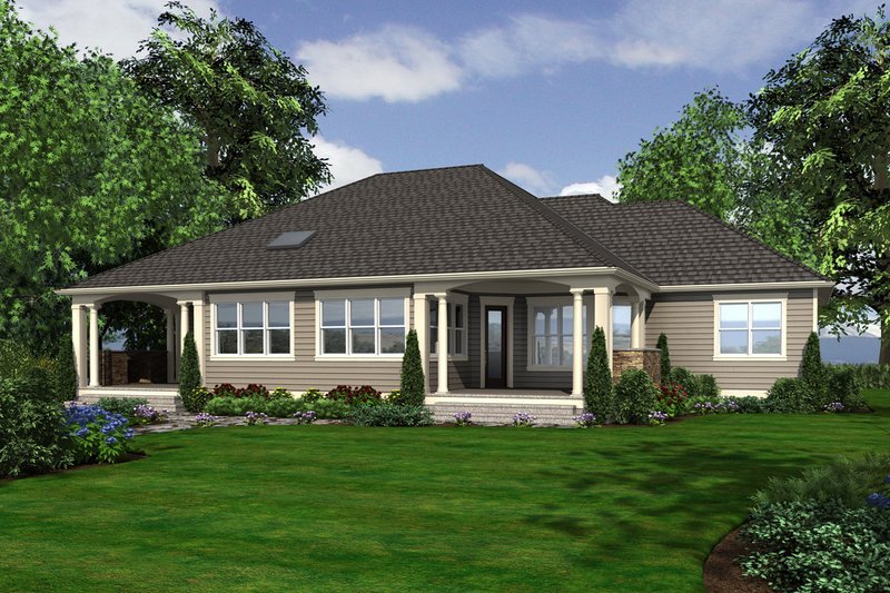 Country Exterior - Rear Elevation Plan #132-203 - Houseplans.com