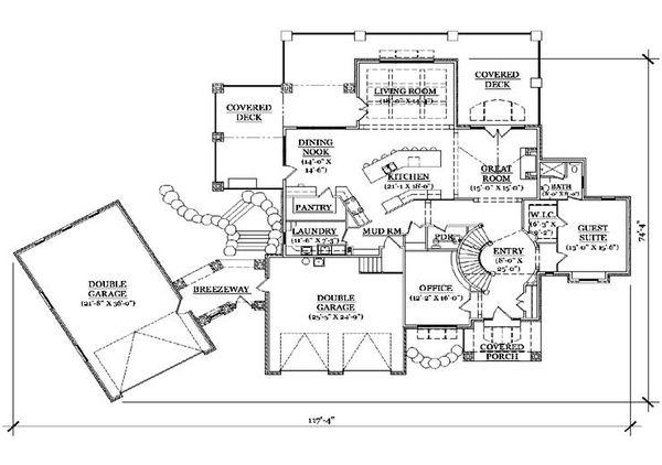 House Plan Design - European Floor Plan - Main Floor Plan #5-431
