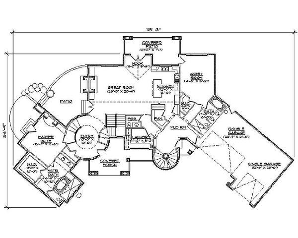 Country Floor Plan - Main Floor Plan Plan #5-417