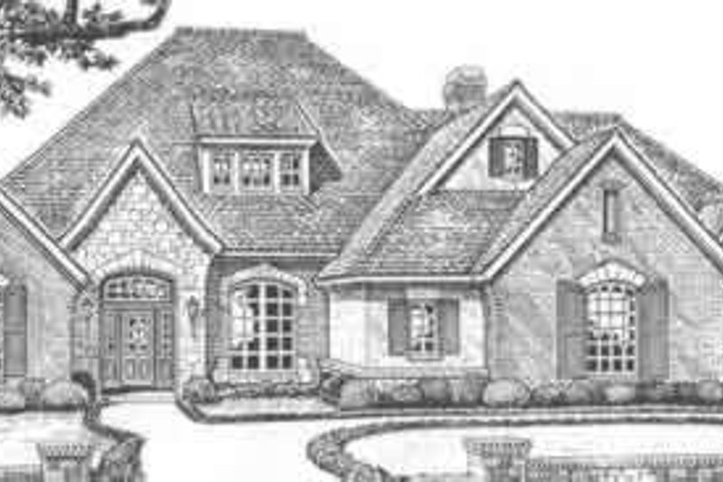 European Style House Plan - 4 Beds 4.5 Baths 4344 Sq/Ft Plan #310-515 Exterior - Front Elevation
