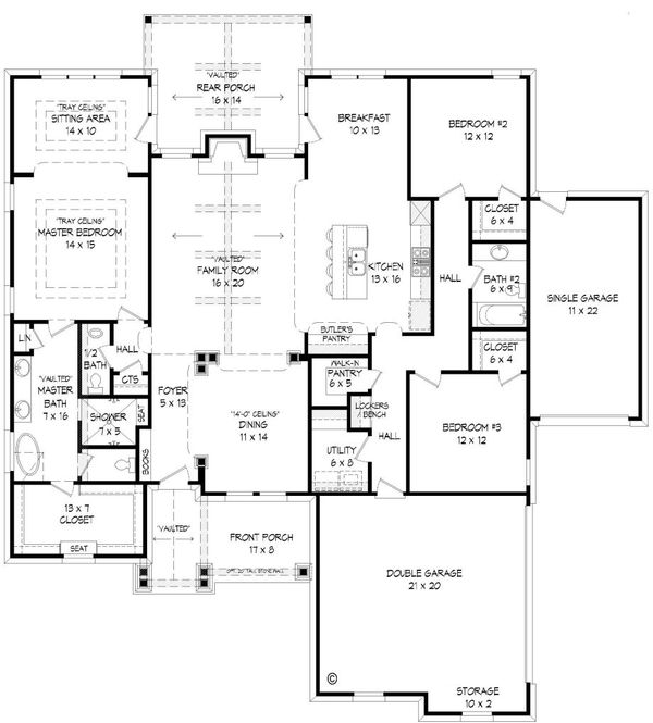 Craftsman Floor Plan - Main Floor Plan Plan #932-4