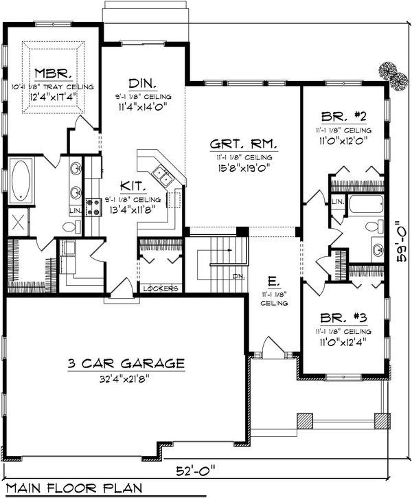 Traditional Floor Plan - Main Floor Plan #70-1081