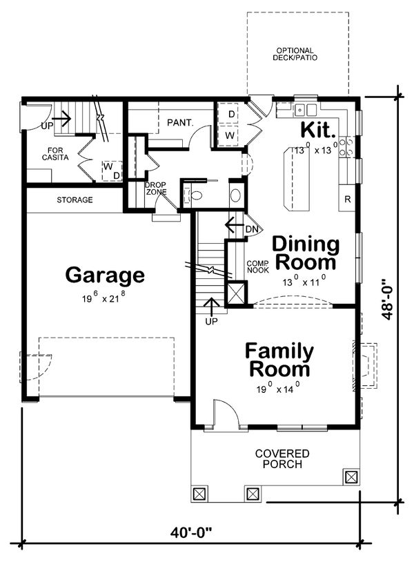 Craftsman Style House Plan - 4 Beds 3.5 Baths 2506 Sq/Ft Plan #20-2325 Floor Plan - Main Floor Plan