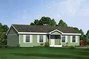 Ranch Style House Plan - 3 Beds 2 Baths 1344 Sq/Ft Plan #57-244 Exterior - Front Elevation