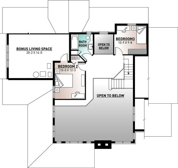 Traditional Floor Plan - Upper Floor Plan Plan #23-250