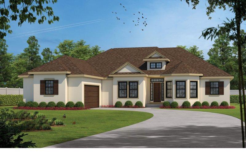 Dream House Plan - Mediterranean Exterior - Front Elevation Plan #20-2443