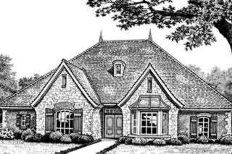 European Style House Plan - 3 Beds 2.5 Baths 2559 Sq/Ft Plan #310-261 Exterior - Front Elevation