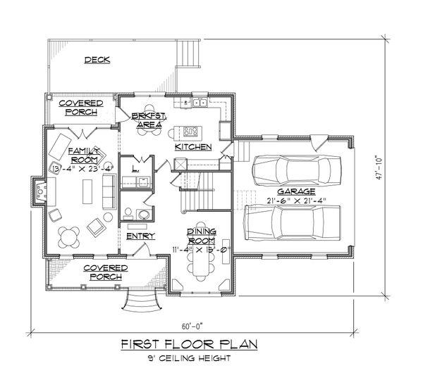 Traditional Floor Plan - Main Floor Plan Plan #1054-55