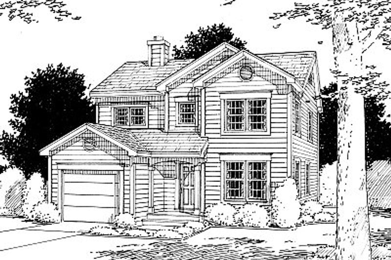 Traditional Style House Plan - 3 Beds 2.5 Baths 1585 Sq/Ft Plan #12-204 Exterior - Front Elevation