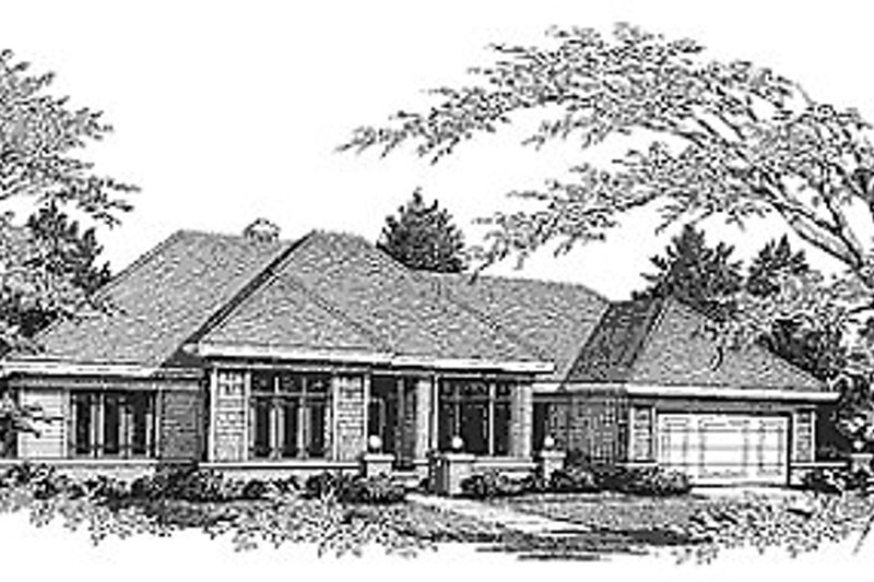 Traditional Style House Plan - 3 Beds 2 Baths 1977 Sq/Ft Plan #70-259 Exterior - Front Elevation