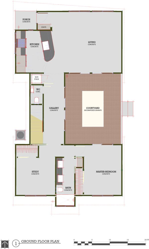 Modern 3 bedroom 1600 square feet house plan