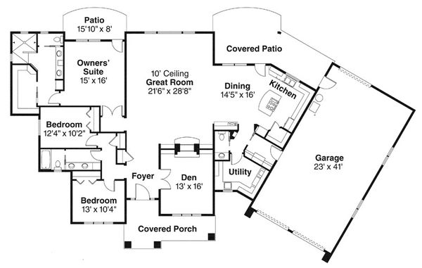Prairie Floor Plan - Main Floor Plan Plan #124-841