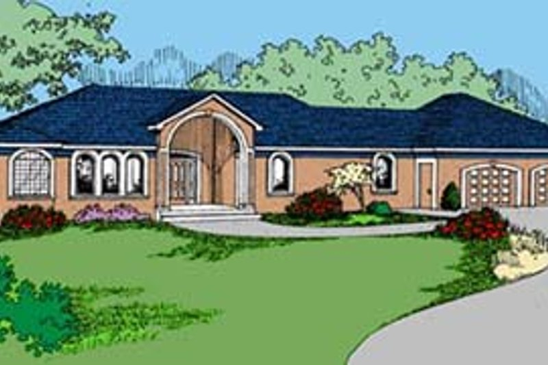 Ranch Style House Plan - 2 Beds 2 Baths 1826 Sq/Ft Plan #60-556 Exterior - Front Elevation