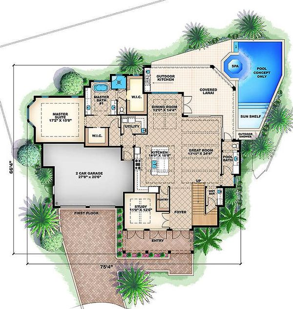 Colonial style, Southern design house plan, main level floorplan