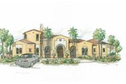 Mediterranean Style House Plan - 4 Beds 5 Baths 4761 Sq/Ft Plan #426-19 Exterior - Front Elevation