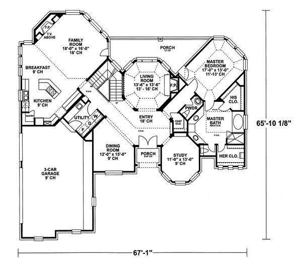 European Floor Plan - Main Floor Plan Plan #20-2043