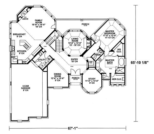 Home Plan - European Floor Plan - Main Floor Plan #20-2043