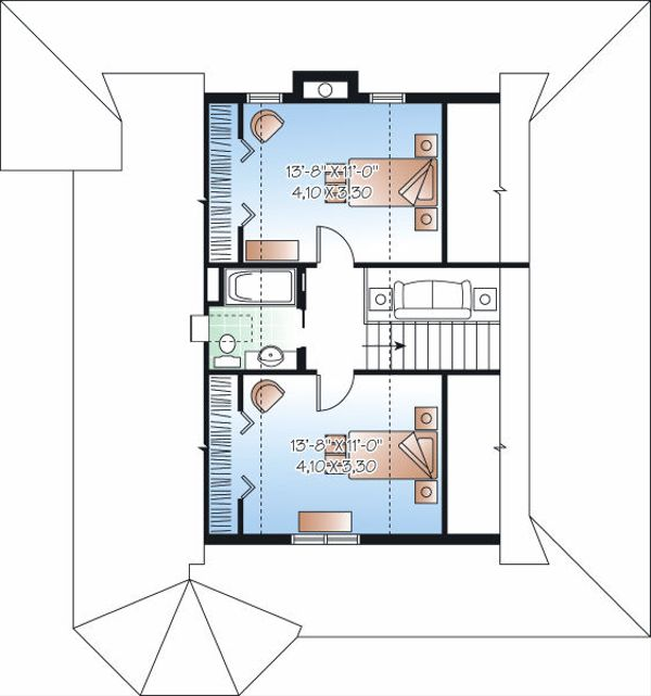 Farmhouse Floor Plan - Upper Floor Plan Plan #23-823