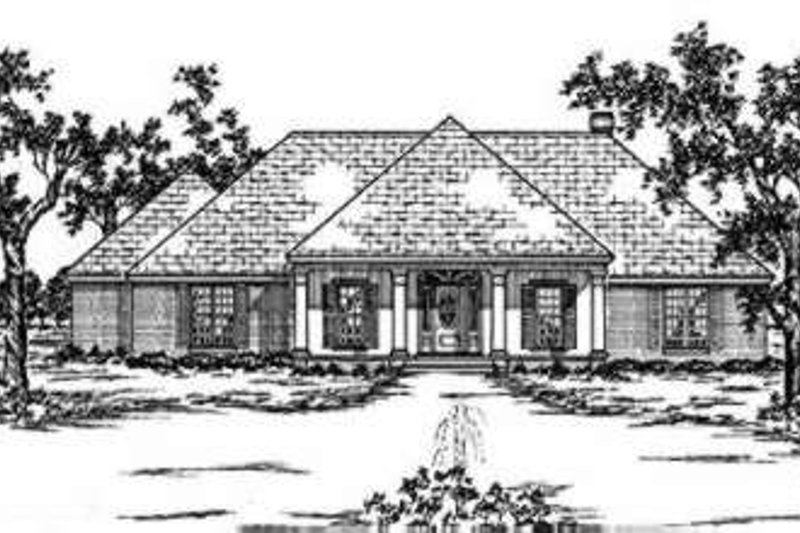 Southern Exterior - Front Elevation Plan #36-413