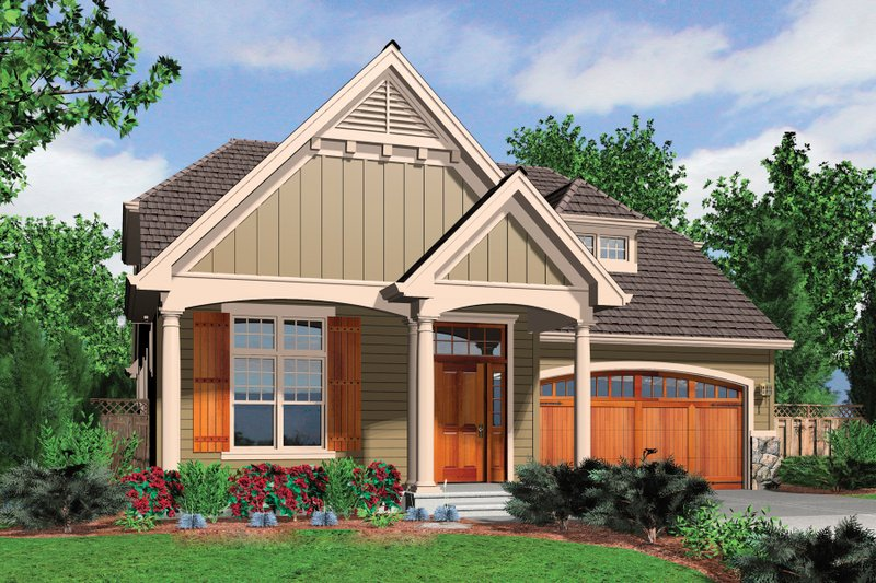 Cottage Exterior - Front Elevation Plan #48-633