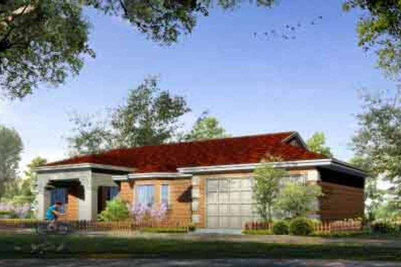 Adobe / Southwestern Style House Plan - 4 Beds 2 Baths 1895 Sq/Ft Plan #1-1015 Exterior - Front Elevation