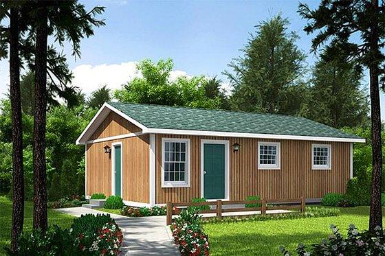 Cabin Exterior - Front Elevation Plan #312-404